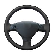 <b>Hand stitched Black</b> PU <b>Artificial Leather</b> Steering Wheel Cover for ...