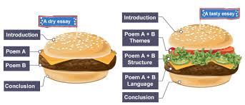 bbc bitesize   gcse english literature   comparing poems   revision   infographic illustrating how to properly structure a comparative essay   a tasty burgeressay with