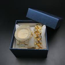 Glam Gold Men Bracelets <b>Gold Color Iced</b> Out Crystal Miami Cuban ...