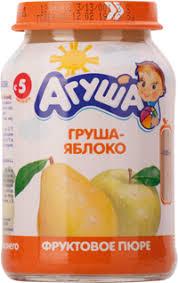 Детское питание <b>пюре АГУША фруктовое</b> грушево-яблочное с 5 ...