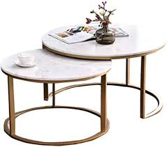 DXJNI - Nordic Wrought Iron Coffee Table Set, Marble ... - Amazon.com
