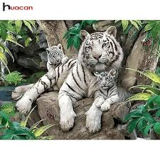 5D <b>Diamond Painting Three</b> White Tigers Kit | Tiger Diamond ...