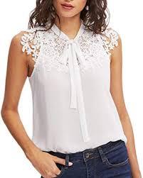 Wintialy Women Summer Sleeveless Bow Tie Lace <b>Thin Chiffon</b> ...