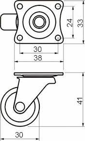 <b>Колесо поворотное</b> D-30мм пластиковое на <b>площадке</b>, белое ...