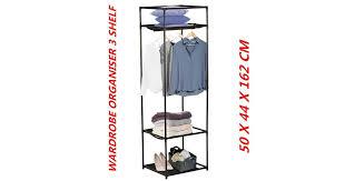 <b>3 Tier Wardrobe</b> Organizer Durable Sturdy Construction <b>Closet</b> ...