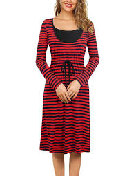Pregnant Woman Dress Autumn and winter long striped ...