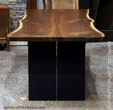 wood slab dining table beautiful: live edge dining table in solid book matched black walnut live edge slabs steel plate