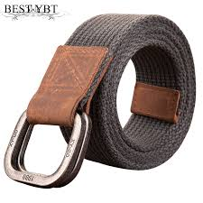 Best YBT <b>Unisex Canvas belt</b> retro washed Alloy double ring buckle ...