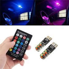 <b>Pair</b> T10 RGB <b>LED Car</b> Wedge Side Marker Lights Flashing Lamps ...
