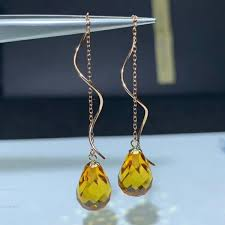 2019 <b>Shilovem 18k Yellow Gold</b> Citrine Drop Earrings Fine Jewelry ...