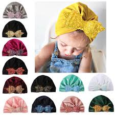 <b>2019 New</b> Warm Infant Cute <b>Hat</b> Kids Gold <b>Velvet</b> Sequins Bowknot ...