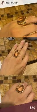 Big crystal zircon <b>stone</b> yellow gold filled ring Brand new beautiful ...