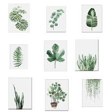 2019 <b>Watercolor Tropical Plant</b> Leaves Canvas Art Print Poster ...