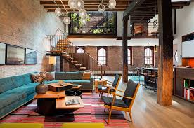 warehouse style apartment living room new york loft apartment of former warehouse studio living room with th