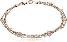 14k Rose Gold Floating Diamond Strand Bracelet (1 ... - Amazon.com