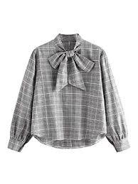 ROMWE Women's <b>Plus Size</b> Elegant Plaid Tie Neck Long <b>Lantern</b> ...