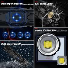250000LMXHP90 <b>Powerful LED</b> Flashlight <b>USB Rechargeable</b> ...