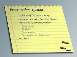 service learning project virginia teachers for tomorrow ii    presentation agenda definition of service learning examples of service learning projects your service learning projects –