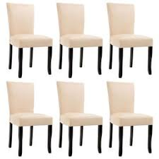 Shop vidaXL Dining <b>Chairs 6 pcs Cream</b> Faux Leather - Overstock ...