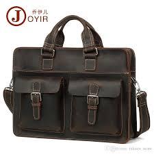 <b>Joyir Genuine Leather Mens</b> Briefcase Laptop Bag Crazy Horse ...