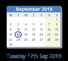 17 September 2019 Calendar with Holidays and Count Down - AUS