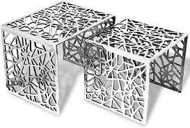 vidaXL Two Piece <b>Side Tables Square Aluminium</b> Silver: Amazon.co ...