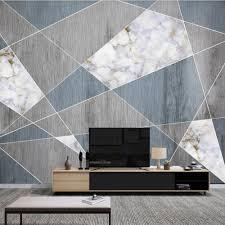 Custom <b>3D</b> wallpaper mural <b>Nordic wood grain</b> marble geometric ...