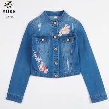 <b>YUKE New</b> Style <b>Girl</b> Denim Jacket <b>Girl</b> Embroidered Hole Denim ...