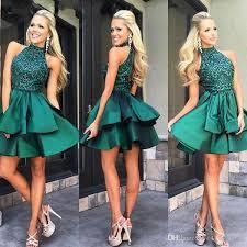 2018 <b>Custom Made</b> Emerald Green <b>Short Prom</b> Dresses High Neck ...