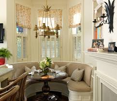 small dining bench:  stylish and comfy dining room with banquette bench small dining room idea with round pedestal