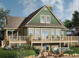 House plan W A detail from DrummondHousePlans comRear view   BASE MODEL Open floor plan chalet   large deck  master and living