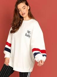 <b>Plus Lantern</b> Sleeve Letter Pullover | SHEIN IN