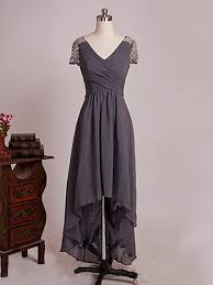 Cheap V-neck <b>Gray Chiffon</b> with Beading Asymmetrical <b>Mother of</b> ...