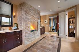 bathroom middle wall fireplace plus dark wooden vanity cabinets feat recessed lighting in contemporary master bathroom bathroom magnificent contemporary bathroom vanity lighting