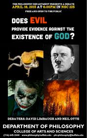 events department of philosophy university at buffalo poster does evil provide evidence against the existence of god