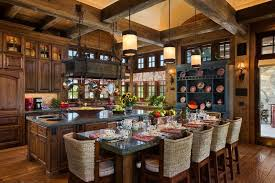 ceiling beams dining room traditional sink ultra luxurious rustic wood style throughout this kitchen featuring gr