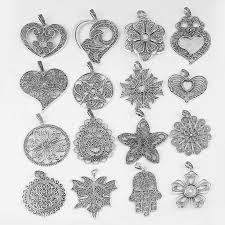 <b>2pcs</b> Antique Silver Filigree Lacework Open Heart Flower Leaf Star ...