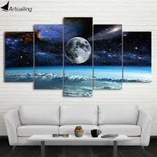 <b>HD print 5 Pieces</b> Canvas Art Space Universe moon stars Painting ...