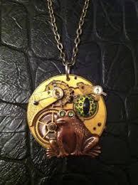 <b>steampunk</b> frog real <b>vintage</b> gears and <b>hand painted</b> frog eye
