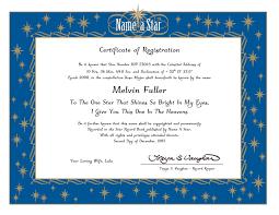 a star buy a star original star naming service sample certificate