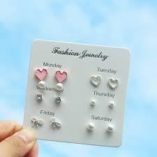 Set Anting <b>Fashion Heart Pearl Stud</b> Earrings Set Silver Plated ...