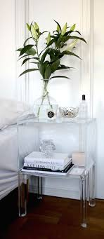 bright white bedroom with acrylic furniture accents acrylic furniture lucite