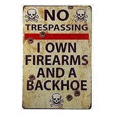 Amazon.com: dingleiever-<b>Vintage Metal Gun Sign</b> No Trespassing ...