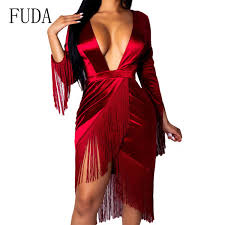 <b>FUDA</b> Plus Size <b>Sexy</b> Asymmetry Tassel Dress Spring <b>Deep V</b> Neck ...
