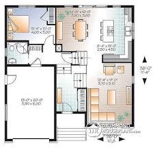 House plan W detail from DrummondHousePlans com    st level Contemporary bedroom Split level house plan  kitchen   large kitchen island