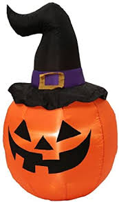 Halloween Inflatable LED Pumpkin with Witch Hat 5 ft ... - Amazon.com