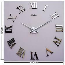 <b>DIY</b> 3D Wall Clock Roman Numerals Large <b>Size Mirrors</b> Luxury Art ...