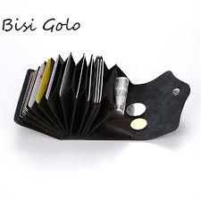 <b>BISI GORO</b> Unisex Genuine Leather Card Holders Wallet Buckle ...