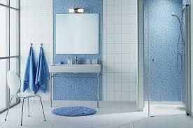 blue mosaic tiles flooring bathroom