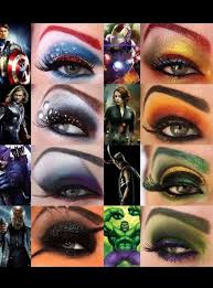 the avengers eye makeup iron man loki thor black widow capn furry the hulk capn america and hawkeye